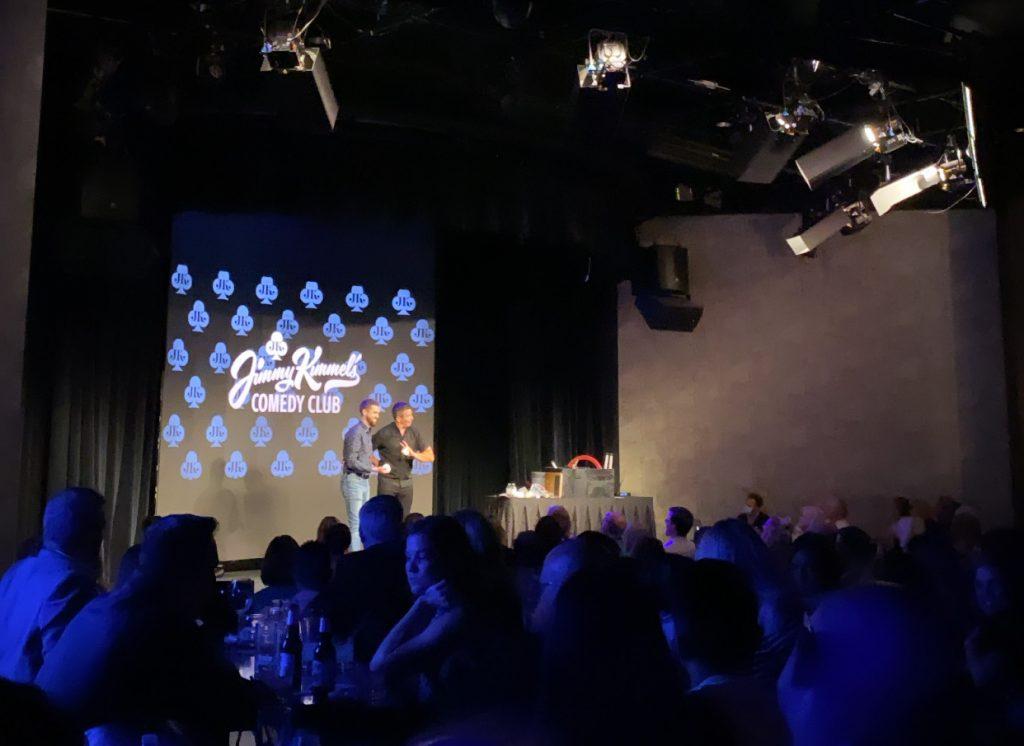 Corporate entertainer Jeff Civillico performs