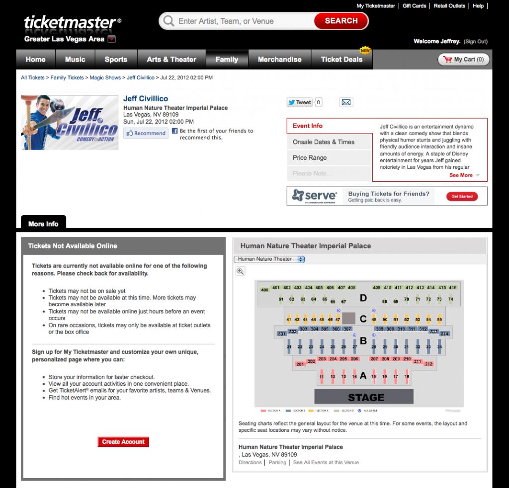 Las Vegas Show on Ticketmaster